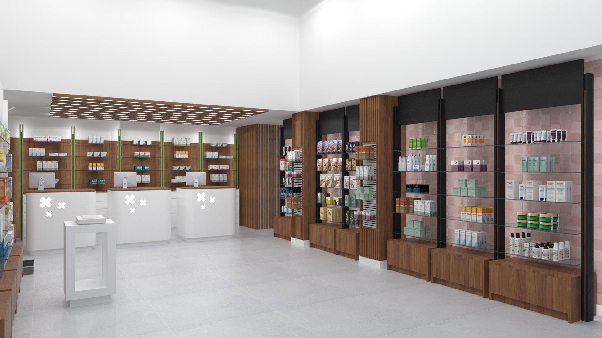 Fotografía de un proyecto de farmacia realizado por Decofarma